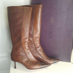 Jimmy Choo Brown Leather Kitten Heel Boots